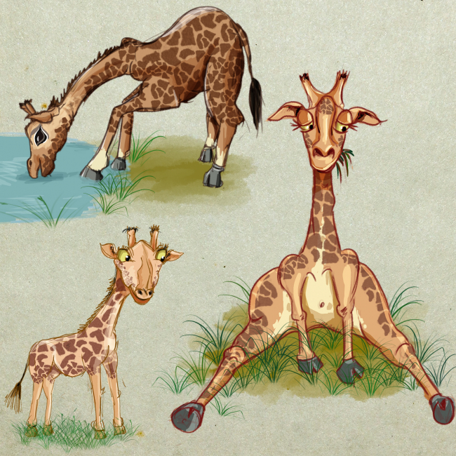 Funny giraffes in colorwater